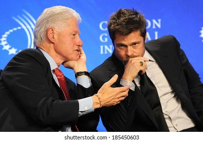 Bill Clinton, Brad Pitt at a public appearance for Clinton Global Initiative-THU, Sheraton New York Hotel and Towers, New York, USA September 24, 2009