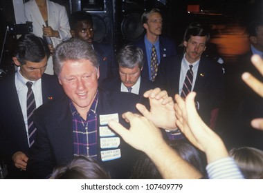 Bill Clinton with voiceless notes attached to his lapel at victory celebration in Little Rock on Nov. 5, 1992, Little Rock, Arkansas