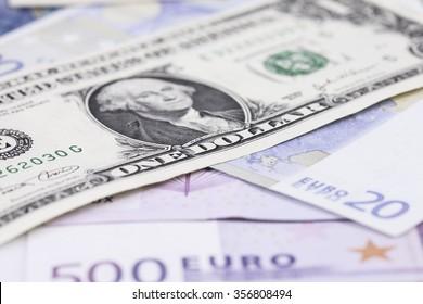 bill dollar against the Euro closeup