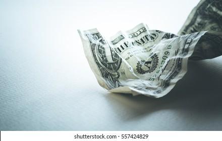 Bill dollar crumpled.financial depreciated.money concept