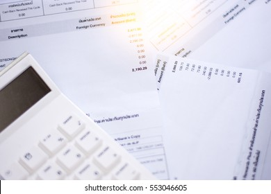 Bill finance and calculator .accounts concept. top view, above view.