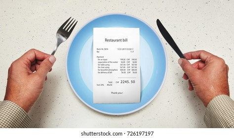 The bill on empty plate for visitor at restaurant