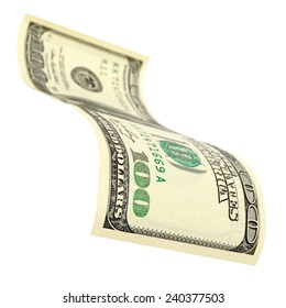 Bill in one hundred dollars isolated on white background.