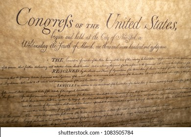 Bill of rights United states vintage document detail close up