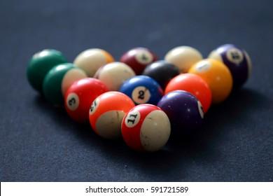 Billard balls on  pool table.