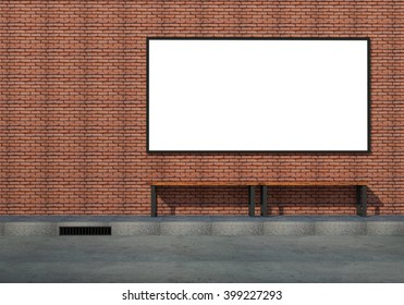 Billboard 3d rendering on exterior brick wall,  waiting area around the bus stop