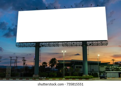billboard or advertising poster on highway in twilight time for advertisement concept background.