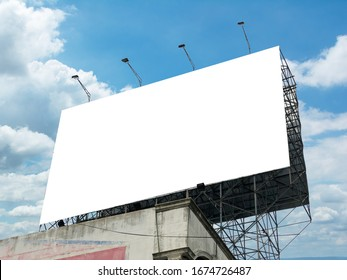 billboard blank and blue sky, copy space on white screen
