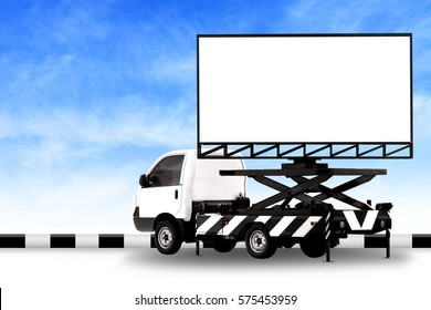 Billboard blank on car white truck LED panel for sign Advertising isolated on background sky, Large banner and billboard Roadside for an advertisement large