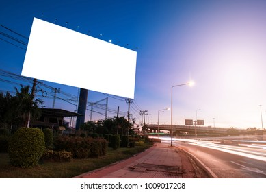 billboard blank for outdoor advertising poster or blank billboard at twilight time for advertisement. street light