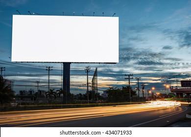 billboard blank for outdoor advertising poster or blank billboard at night time for advertisement. street light - Shutterstock ID 434071933