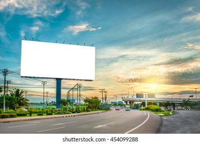 billboard blank for outdoor advertising poster or blank billboard at night time for advertisement. street light.