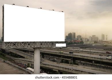 billboard blank for outdoor advertising poster or blank billboard at night time for advertisement. street light.