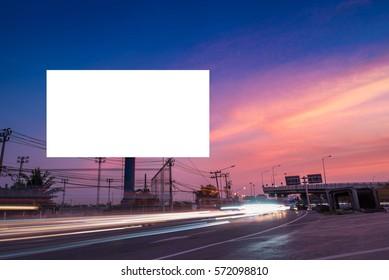 billboard blank for outdoor advertising poster or blank billboard at twilight time for advertisement. street light