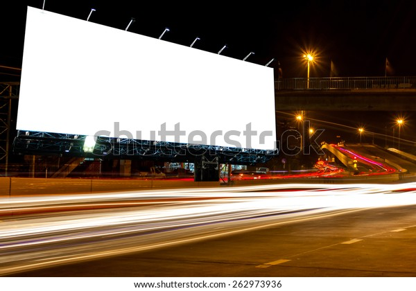 billboard blank for outdoor advertising poster at night time with street light line for advertisement street city night light concept.