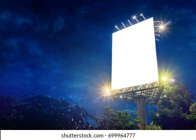 Billboard blank at sunset sky in rainy season