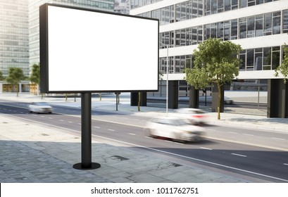 billboard at city street 3d rendering