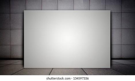 billboard in empty modern interior