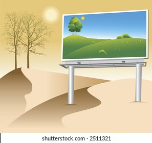 Billboard with a green natural poster on deserted land.