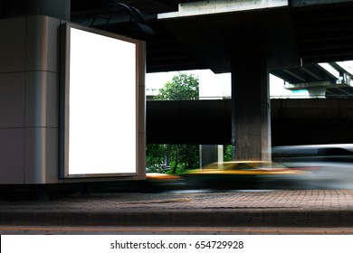 Billboard light box blank white Light signs under the expressway panel for sign Advertising on the road, Billboard box sign empty