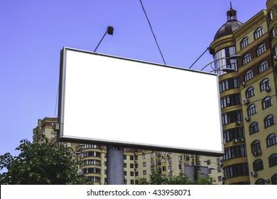 Billboard mock up on city background