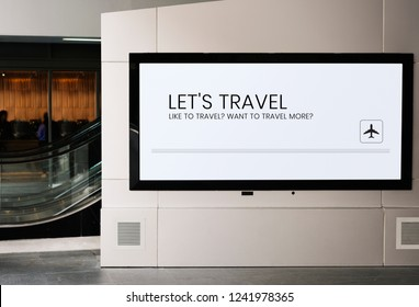 Billboard mockup near an escalator at a train station