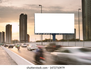 Billboard mockup outdoors, Outdoor advertising poster on the street for advertisement street city. With clipping path on screen