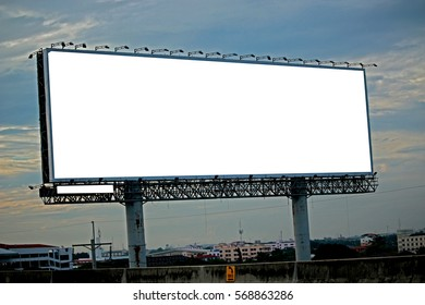 The billboard near the road in the city