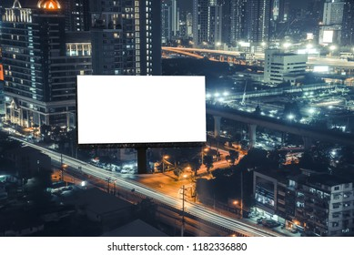 billboard night or billboard blank for outdoor advertising poster at night time with street light line for advertisement street city. With clipping path on screen.