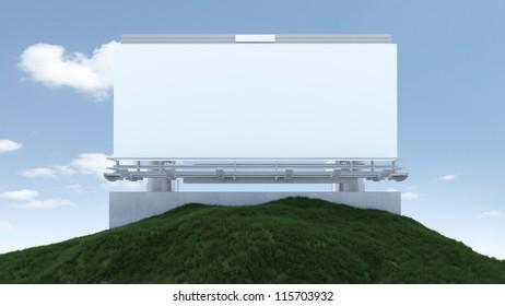 Billboard on a small grass hill 3D