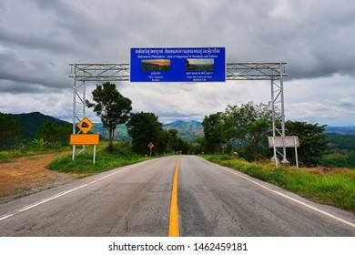 Billboard for persuasion to travel at Phu Tabberk and Nam Nao National Park on the road