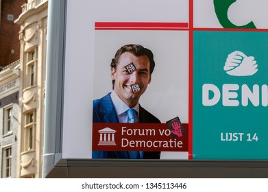 Billboard Political Party Forum Voor Democatie With FCK Stickers At Amsterdam The Netherlands 2019