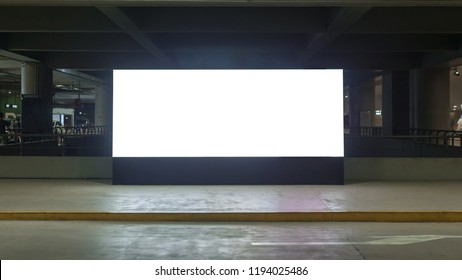 Billboard Rectangular White Mockup City Advertisement on the Parking - Image