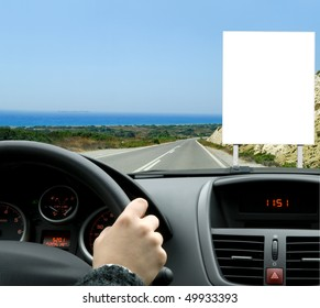 Billboard seen from the inside of a car