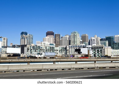 billboard, sky and buildings in san francisco landscape