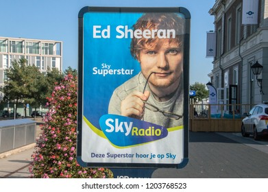 Billboard Of Sky Radio With Ed Sheeran On The Cover At Apeldoorn The Netherlands 2018