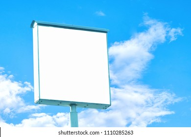 Billboard - Square Blank Billboard with empty screen and beautiful cloudy sky for outdoor advertising poster,Copy space banner ready for your advertisement design or mock up text.Business Concept.