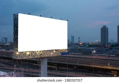 Billboard street on light trails for outdoor advertising poster or blank billboard at night time for advertisement. street light.