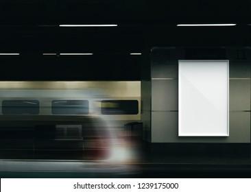 Billboard in train station