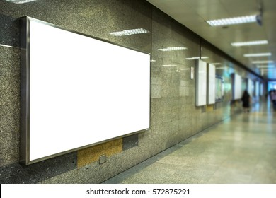 billboard at under ground or metro train station for advertising design.