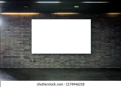 Billboard Underground Wall Mural Blank Isolated White Clipping P