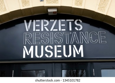 Billboard Of The Verzetsmuseum At Amsterdam The Netherlands 2019