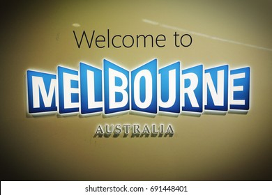 "Billboard with ""Welcome To Melbourne""."