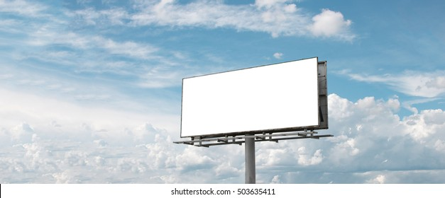 Billboard white blank with room to add your own text. Background with white cloud and blue sky for outdoor advertising, banners with clipping path