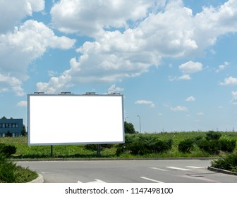 Billboard with white space Blue sky and clouds on background