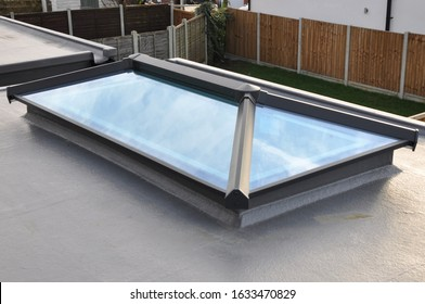 Billericay, Essex, United Kingdom, January 29, 2020. Roof lantern on top of flat roof. New build modern house.  Billericay, Essex, United Kingdom, January 29, 2020.