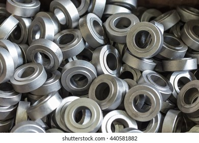 Billet steel parts in the shop of engineering plant in large quantity.