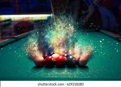 Billiard balls break up into particles and fracture when broken