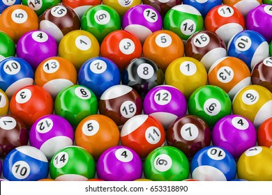 Billiard balls colorful background, 3D rendering