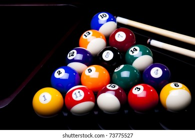 Billiard balls isolated on black